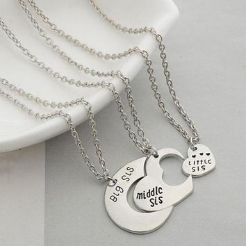 Three Piece Sister Integrated Pendant Necklace