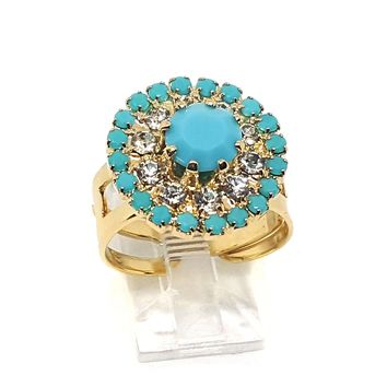 (1-3099-h5) Gold Overlay Turquoise Blue Ring, adjustable.
