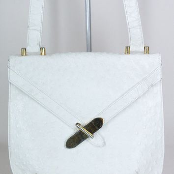 Vintage 60s Purse / 1960s White Ostrich Leather Cross Buckle Satchel Handbag