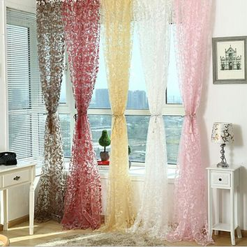 New For Floral Tulle Voile Door Window Balcony Sheer Panel Screen Curtains