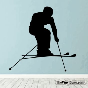 Skiing Wall Decal - Ski Sticker #00001