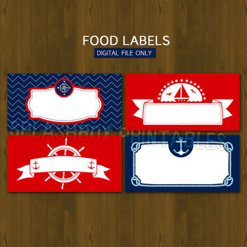 Nautical DIY Printable Food Buffet Labels - Sailor Boy Ahoy themed Party Place Cards or Food Tent Cards - INSTANT DOWNLOAD Navy Blue Red