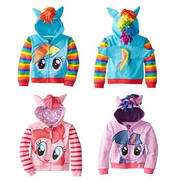 Girls Little Pony Rainbow Dash Pinky Pie Twilight Sparkle Hoodie with Cute Wings Toddlers Kids Cartoon Character Hoodies Jacket