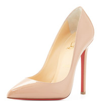 Christian Louboutin Pigalle Patent Leather Red Sole Pump, Nude