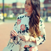 White Floral Print Sleeve Shirt