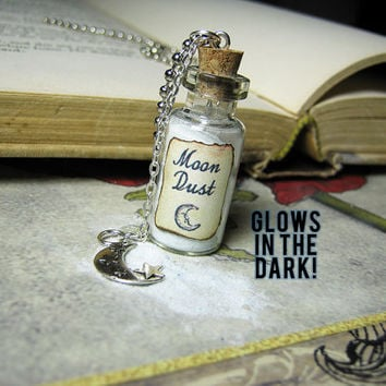 Moon Dust Glass Bottle Necklace - Glow in the Dark Cork Vial Pendant Charm - Space Sand Galaxy Blue Magic