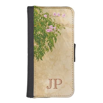 Monogram on pink roses on an Italian style wall iPhone 5 Wallet Cases