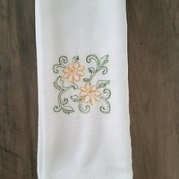 2 Embroidered Flour Sack Cloth Kitchen Dish Tea Towels Sunflowers Country Decor
