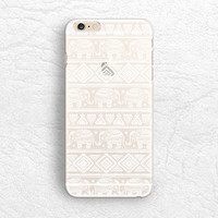 Aztec Elephant matte transparent Tribal phone case for iPhone 5 5s, iPhone 6, Sony z3 z4, HTC one M9, LG g3, Samsung S6 soft clear case -P49