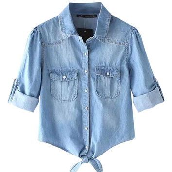 Long Sleeve Knot-Front Denim Shirt
