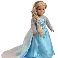 Ebuddy Ice Sparkle Princess Dress Clothes Fits 18 Inch Girl Dolls