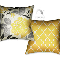 Perfect Petals II Yellow Indoor Decorative Pillow