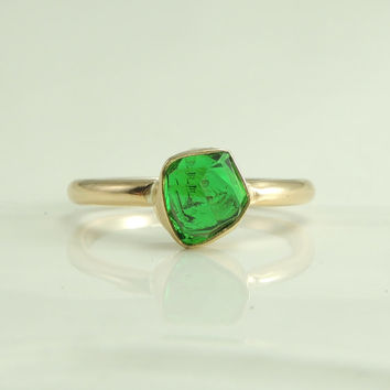 Rough Green Garnet 14k Gold Ring Garnet Ring by PointNoPointStudio