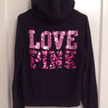Victoria's Secret Pink Leopard Cheetah Bling Hoodie Full Zip Sequins Size Large