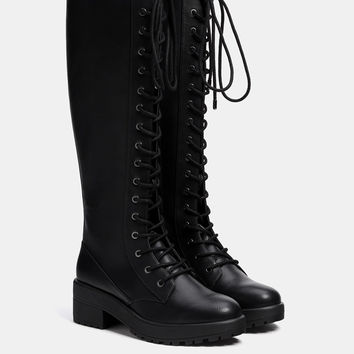 Lace-up platform tall boots - SHOES - Bershka United Kingdom