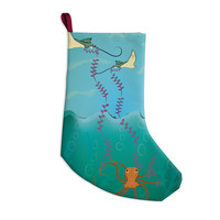 "Famenxt ""Octopus Flying Manta Rays"" Teal Green Christmas Stocking"