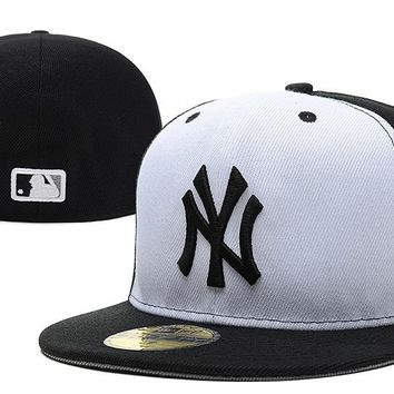 qiyif ny New York Yankees New Era MLB Authentic Collection 59FIFTY Cap White-Black