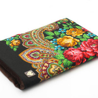 Neoprene padded MacBook Air sleeve from traditional Russian shawl from Pavlovo Posad by makeYOUmine