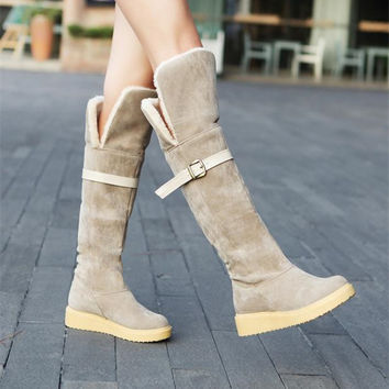 Women Stretch Suede Thigh High Boots Sexy Fashion Over the Knee Boots High Heels Warm Woman Shoes Fold Winter Snow Boots Flats