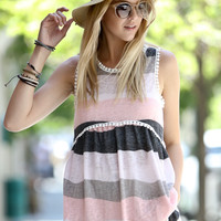 Striped Peplum Top in Pink