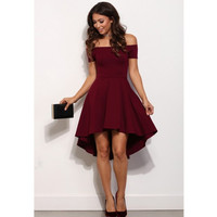 Burgundy Sexy Cocktail Dresses 2016 Off the Shoulder Short Front Long Back Prom Party Dress Stain Cheap Special Occasion Gown