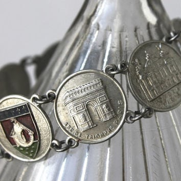 Vintage Paris Landmark Bracelet,  French Travel Souvenir, Eiffel Tower and more!
