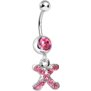 Pink Gem Letter X Initial Dangle Belly Ring