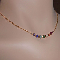 """Gold Rainbow Chakra Necklace, Multi Colored Jade Healing Jewelry, 14k Gold Filled Figaro 14"""", 15"""", 16"""", 17"""", 18"""" and Custom Lengths"""