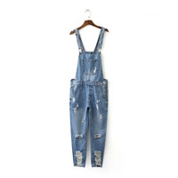 Summer Stylish Ripped Holes Denim Romper Jumpsuit [4919983684]