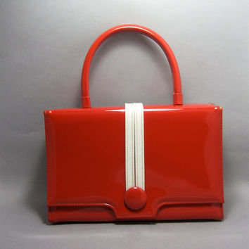 Vintage Purse Patent Leather Red and White