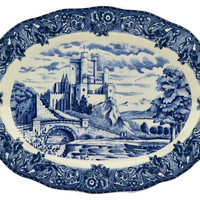 Blue and White Castle Landscape Meat Serving Platter Vintage English