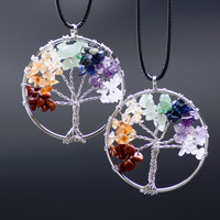 Tree of Life  Necklaces 7 Chakra Stone Beads Natural Citrine Amethyst Agate Pendant Necklace Leather Chains Christmas Gifts