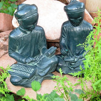 RARE Antique Asian Zen Scholar Student Austin Production Corp  Bookends 1961  Very GOOD