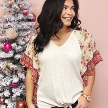 Chase My Heart Flutter Sleeve Blouse