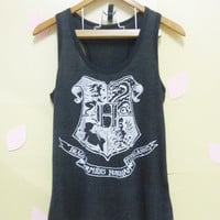 Hogwarts Alumni school, Harry Potter tank top, Light black Witchcraft Wizardry Women shirts teen Tank top size M Hogwart shirt