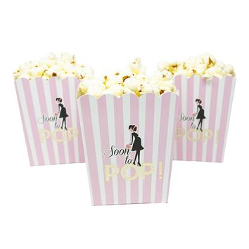 Soon To Pop Pink Baby Shower Popcorn Favor Box-Set of 20