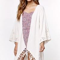 Billabong Salty Wavez Woven Kimono Cover Up - Womens Shirts - Off White -