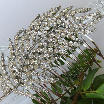 "Bridal Crystal Hair Comb ""Frozen Leaf"", Wedding Hair Pieces, Rhinestone Combs, Wedding Hair Accessories, Bridal Headpieces"