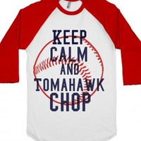 Keep calm and Tomahawk chop-Unisex White/Red T-Shirt