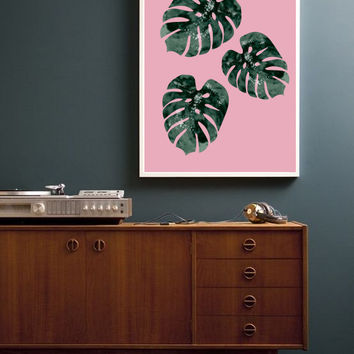 Monstera Leaf Poster, Vintage Print, Vintage Poster, Mid Century Poster, Wall Decor, Minimal Wall Art, Watercolor Art, Plant Illustration.