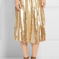 Tibi - Éclair pleated sequined silk-georgette skirt