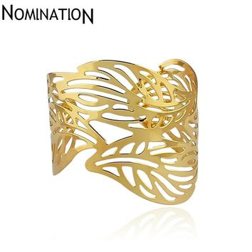 Slave Bangles Cuff Bracelets Gold Color Exaggerated Hollow Leaves Shape Alloy Wide Big Bangles Hot Sale Bijoux For Women Gift