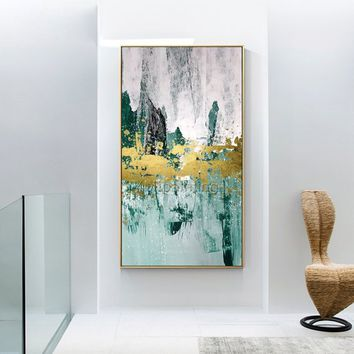 Modern abstract Gold painting acrylic painting on canvas original green extra large painting Wall pictures hand painted cuadros abstractos