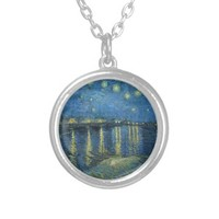 Vincent Van Gogh Starry Night Over the Rhone Necklace