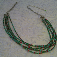 Green and Red Multi-Strand Necklace - 6 Strand Necklace