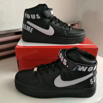 """""""Nike Air Force 1"""" Unisex Sport Casual Letter High Help Plate Shoes Couple Fashion Sneakers"""