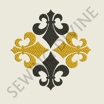 FLEUR de lis EMBROIDERY DESIGN 3 Sizes 8 Formats Instant Download Chevron stitching