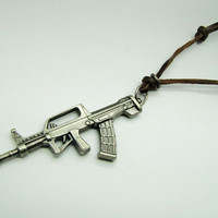 soft leather necklacemetal gun pendant men leather by braceletcool