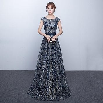 Elegant O-neck With Short Cap Sleeves A-line Floor-Length Evening Dresses Long Navy Blue Plus Size Mother Of The Bride Dresses