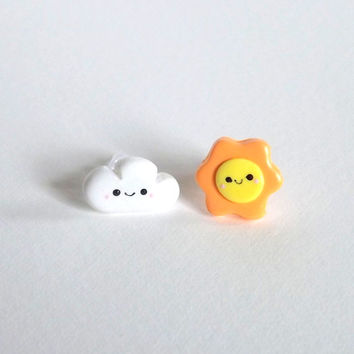 Happy Sun and Cloud Mismatch Stud Earrings -  Plastic Posts -  Allergy Free Earrings